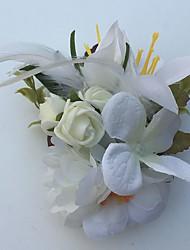 Fleurs de mariage Roses Lis Boutonnières Mariage La Fête / soirée Satin Cuir Strass