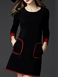 Women's Casual/Daily / Work / Party/Cocktail Sexy / Simple / Sophisticated A Line / Bodycon / Sheath Dress,Solid Round Neck MiniLong