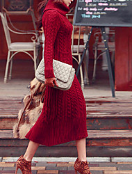 Women's Casual/Daily Simple Long Dress,Solid Red Turtleneck Long Sleeve Cotton Fall / Winter Medium Micro-elastic