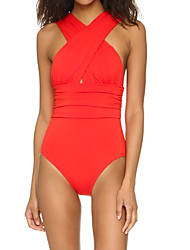 Women's Halter One-piece,Cross / Sport Polyester Red