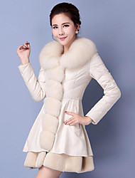 Women's Casual/Daily Simple Fur Coat,Solid Long Sleeve White / Black Fox Fur