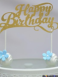 Gold Walk-through Happy Birthday Cake Topper