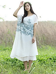 Women's Casual/Daily Simple Loose Dress,Solid Round Neck Midi Short Sleeve Blue / White Linen Summer Mid Rise Micro-elastic Medium