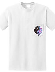 Tee-shirt Femme,Couleur Pleine Imprimé Sortie Plage simple Actif Eté Manches Courtes Col Arrondi Coton Moyen