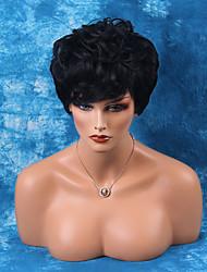 superbe court capless perruques de cheveux humains onduleux naturel