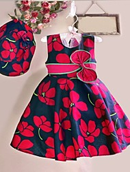 Girl's Flower Print Sleeveless Dress,Cotton Summer / Spring  Red Flower Knee-length Causal Holiday Party Girls Fashion (Hat incude)