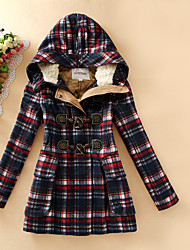 Women's Casual/Daily Simple Coat,Plaid Hooded Long Sleeve Fall / Winter Multi-color Cotton / Polyester Medium