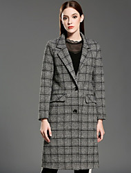 INPLUS LADY Women's Casual/Daily Vintage CoatPlaid Notch Lapel Long Sleeve Winter Gray Wool / Polyester Medium