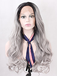 Black Roots T1B/Black Ombre Color Synthetic Lace Wig Natural Hair Wave Lace Front Wig With Back Adjustable Strap