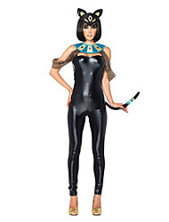 Fest/Feiertage Halloween Kostüme Schwarz einfarbig Mehre Accessoires / Catsuit / Kopfbedeckung Halloween / Weihnachten / Karneval Frau