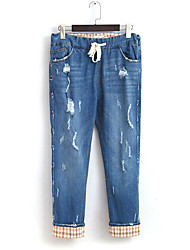 Women's Harem Jeans Pants,Casual/Daily Simple Solid / Plaid Ripped High Rise Drawstring Cotton Micro-elastic Fall / Winter