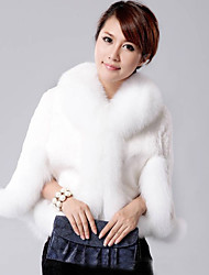 Women's Beach / Party/Cocktail / Holiday Sexy / Simple / Cute Coat,Solid V Neck Long Sleeve Fall / Winter White / Black Fox Fur Medium