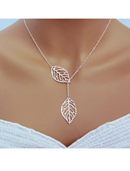 Women's Pendant Necklaces Chain Necklaces Lariat Y Necklaces Silver Sterling Silver Leaf Classic Adjustable Elegant Carved Silver Golden