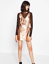 Gaine Robe Femme Sortie / Décontracté / Quotidien simple / Chic de Rue,Couleur Pleine Col en V Mini Sans Manches Or Polyester / Nylon