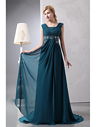 A-line Mother of the Bride Dress Floor-length Square Sleeveless Chiffon with Beading