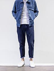 Masculino Skinny Chinos Calças-Cor Única Casual Simples Cintura Média Zíper Algodão Inelástico Outono / Com Molas