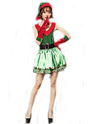 Disfraces de Cosplay Disfraces de Santa Cosplay de Películas Verde Un Color Vestido / Guantes / Cinturón / Sombrero Navidad Mujer