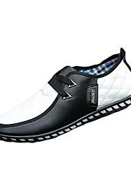 Masculino-Mocassins e Slip-Ons-Conforto-Rasteiro-Azul Preto e Branco-Couro Ecológico-Casual