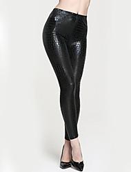 Feminino Skinny Chinos Calças-Animal Casual Sexy Cintura Alta Elasticidade Poliéster Stretchy Outono / Inverno