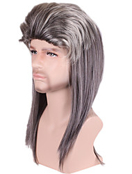 Long Medium Curly Side Bang Synthetic Wigs for Men Grey Costume Cosplay Wigs Heat Resistant Cheap Hair