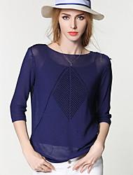 Damen Standard Strickjacke-Ausgehen Lässig/Alltäglich Niedlich Solide Blau Rosa Rundhalsausschnitt ¾-Arm Nylon Frühling Herbst Mittel