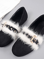 Women's Flats Fall Moccasin Fur Casual Black White
