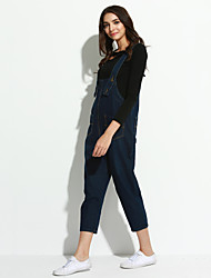 Women's Solid Blue Jumpsuits,Simple Strap Sleeveless