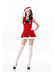 Cosplay Costumes Santa Suits Movie Cosplay Red Solid Top / Skirt / Gloves / Hats Christmas Female Polyester