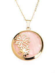 Sweet Pink Acrylic Inlay 316L Stainless Steel Daisy Pendant Necklace
