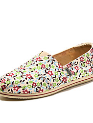Women's Spring Fall Round Toe Canvas Casual Flat Heel Slip-on Multi-Color