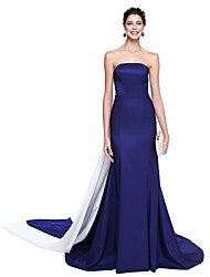 Mermaid / Trumpet Strapless Floor Length Taffeta Formal Evening Dress with Pleats by TS Couture®