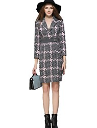 Women's Plus Size / Casual/Daily / Work Simple / Street chic / Sophisticated Shift Dress,Color Block Notch Lapel Knee-length Long Sleeve
