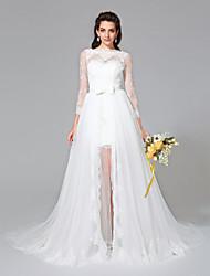 Lanting Bride® Trapèze Robe de Mariage  - Chic & Moderne Deux Pièces Traîne Tribunal Bateau Dentelle / Tulle avecBouton / Ceinture /