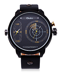 Men's Fashion Casual Dual Time Zones Christmas Round Dial Alloy Watchcase Leather Band Quartz Analog Wrist Watch(Assorted Color)