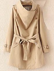 Feminino Casaco Longo Informal / Casual Sensual / Moda de Rua Outono / Inverno,Sólido / Retalhos Marrom / Verde Algodão Colarinho Chinês-