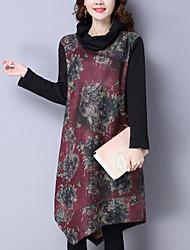 Women's Irregular chic Loose Dress Print Turtleneck Knee-length Long Sleeve Black / Purple Cotton / Linen Winter Mid Rise Inelastic