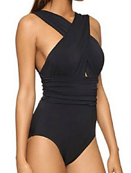 Women's Halter One-piece,Cross / Sport Polyester Black