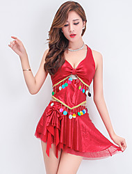 Women's Casual/Daily Simple Two Piece Dress,Solid Halter Mini Sleeveless Red / White / Gold Cotton Spring / Fall Mid Rise Micro-elastic