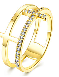 New Fashion 18K Rose Gold Plated Rings For Women Double Corss Copper Zircon Wedding Ring Loves' Engagement Bague