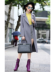 The new fall and winter clothes woolen coat Girls long paragraph knee wool coat Slim was thin cashmere coat