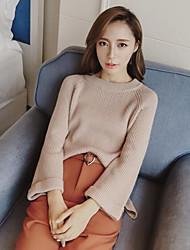 Damen Standard Pullover-Lässig/Alltäglich Einfach Solide Weiß Beige Rundhalsausschnitt Langarm Baumwolle Winter Mittel Mikro-elastisch