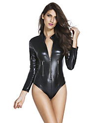 Women's Leathery Long Sleeve Zip Detail Bodysuit