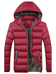Men's Regular Padded Coat,Vintage Simple Street chic Plus Size Casual/Daily Formal Solid-Polyester Cotton Long Sleeve Hooded Red Black