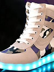 Damen Sneakers Komfort Neuheit Leuchtende LED-Schuhe Herbst Winter Wildleder Normal Schnürsenkel Flacher Absatz Schwarz Grau Flach