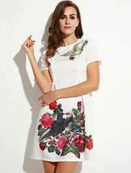 Trapèze Robe Femme Décontracté / Quotidien Vintage,Fleur Col Arrondi Au dessus du genou Manches Courtes Blanc Noir PolyesterToutes les