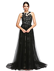 A-Line Jewel Neck Court Train Lace Tulle Formal Evening Dress with Beading Appliques Buttons Pleats by TS Couture®