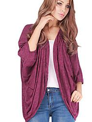 Damen Solide Einfach Lässig/Alltäglich T-shirt,Kapuze Herbst ¾-Arm Rot / Grau Baumwolle Mittel