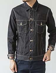 Men's Casual/Daily Simple Denim Jackets,Solid Long Sleeve Black Cotton