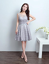 Short / Mini Lace / Tulle Lace-up Bridesmaid Dress - A-line Jewel with Lace