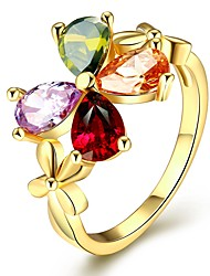 Anéis Zircônia cúbica Casual Jóias Liga Feminino Anel 1peça,7 / 8 Dourado / Ouro Rose